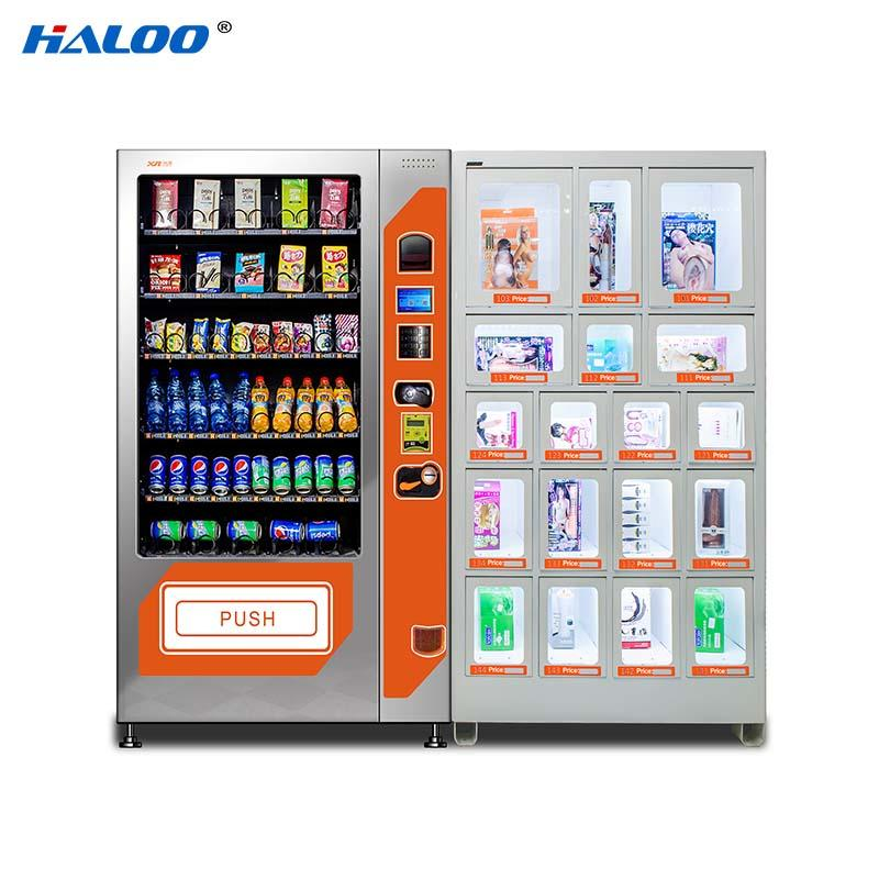 HALOO-DLE-10C+CRE-4A-006 Sex product condom automatic vending machine with 21.5inches ads touch screen